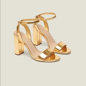 Sandro Adrianne heeled sandals in gold leather